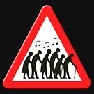 Elderly people getting jiggy with it sign by funkyworm