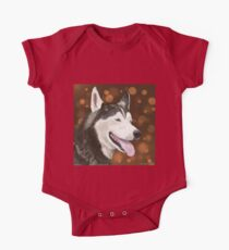 Beautiful Blue Eyed Husky, Brown Bokeh Background One Piece - Short Sleeve