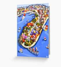 Blue water jetty Greeting Card