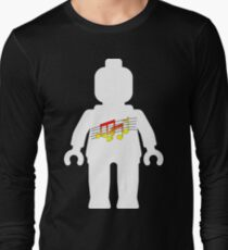 White Minifig with Music Log, Customize My Minifig Long Sleeve T-Shirt