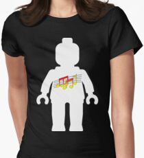 White Minifig with Music Log, Customize My Minifig Women's Fitted T-Shirt