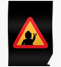 Minifig Triangle Road Traffic Sign Poster