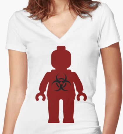 Minifig with Radioactive Symbol Women's Fitted V-Neck T-Shirt