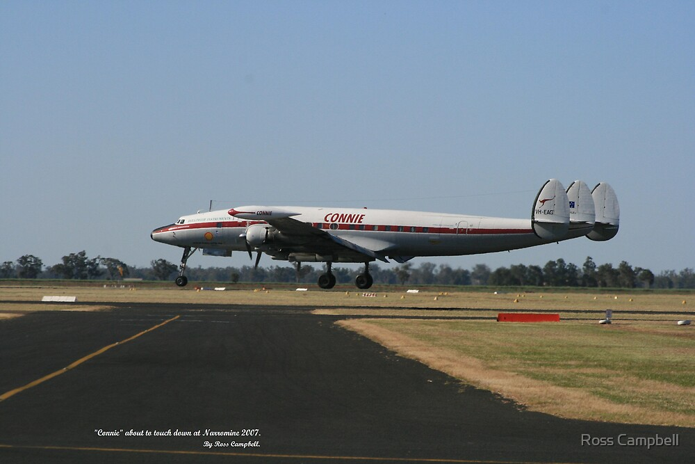"""""""Connie"""" About to touch down at Narromine by Ross Campbell"""