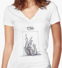 TOMOE NAGE WHITE Women's Fitted V-Neck T-Shirt