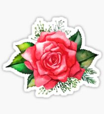 Watercolor red roses Sticker