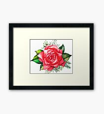Watercolor red roses Framed Print