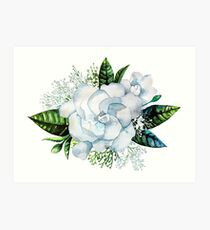Watercolor gardenia and gypsophila vignette Art Print