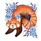 «Panda rojo y azul floral» de Calista Douglas