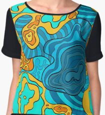 psychedelic wavy pattern Women's Chiffon Top
