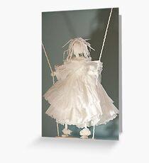 white angel on  swing  Greeting Card