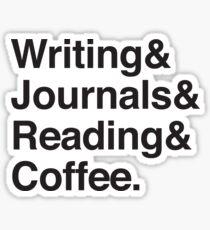 Pegatina Escritura y diarios y lectura y café