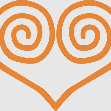 Dreamcast Swirl Heart Japanese Orange by hoogafanter