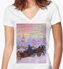 Boris Kustodiev - Shrovetide 1916 Women's Fitted V-Neck T-Shirt