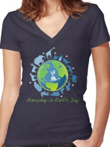Everyday is Earth Day Women's Fitted V-Neck T-Shirt