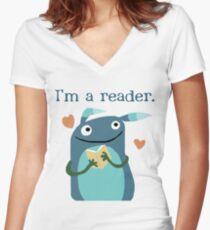 Reader Women's Fitted V-Neck T-Shirt