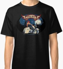 Cartoon motorbiker at night city background Classic T-Shirt