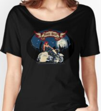 Cartoon motorbiker at night city background Women's Relaxed Fit T-Shirt
