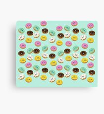 cool donuts icons- blue Canvas Print