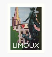 Medieval Limoux French town Art Deco style Art Print