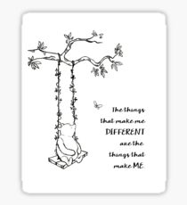 Winnie the Pooh - The Things That Make Me Different (black on white) Sticker