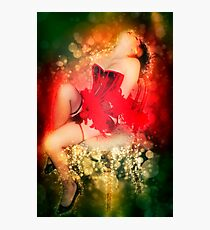 Young sexy woman in corset and fishnet stockings  Photographic Print