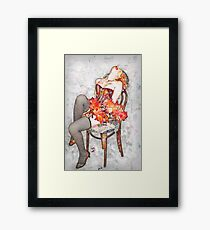 Young sexy woman in corset and fishnet stockings  Framed Print