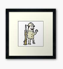 cartoon victorian hunter Framed Print