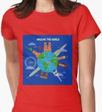 Traveling Around the World Banner with Famous Architectural Buildings on the Globe Womens Fitted T-Shirt