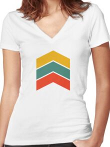 Geometric Futuristic Arrow Women's Fitted V-Neck T-Shirt