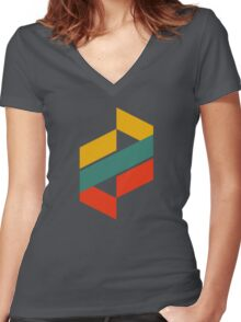 Abstract Letter Women's Fitted V-Neck T-Shirt