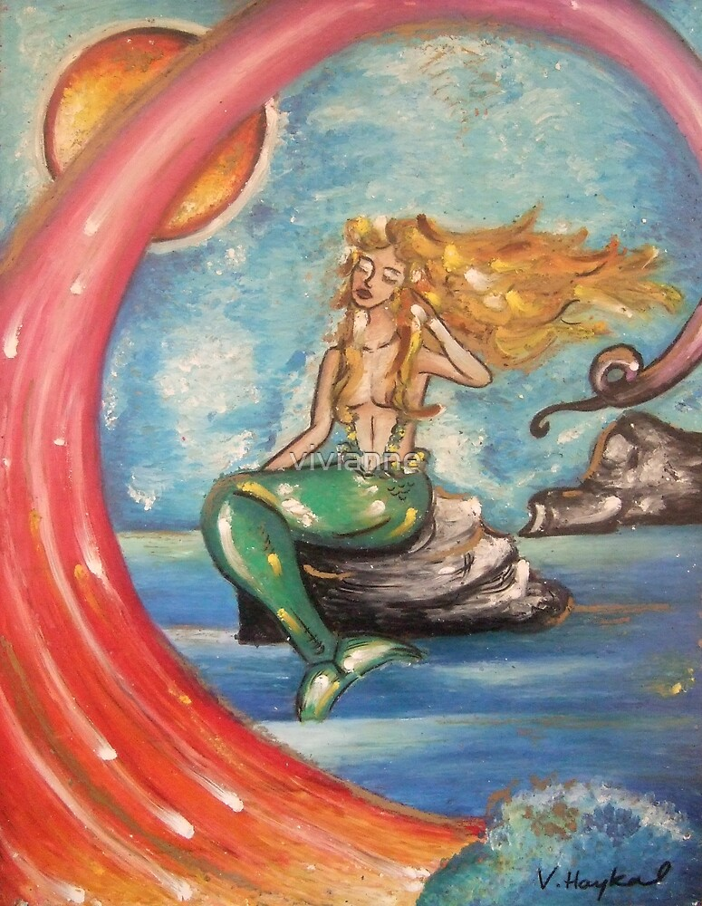 Mermaid On Rocks by vivianne