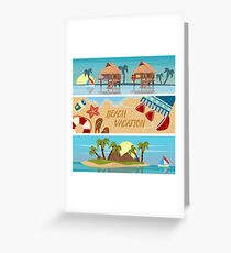 Beach Vacation Horizontal Banners Set with Bungalows and Tropical Island Greeting Card
