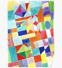 Playful Colorful Architectural Pattern  Poster