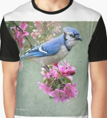 bluejay on spring blossoms Graphic T-Shirt