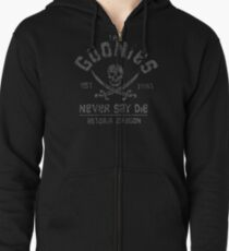 The Goonies - Never Say Die - Grey on Black Zipped Hoodie