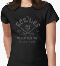 The Goonies - Never Say Die - Grey on Black Women's Fitted T-Shirt