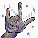 ASL I Love You in Denim and Camouflage Colors by EloiseArt