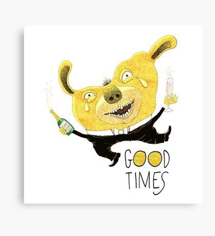 Good Times Golden Dog Celebration Canvas Print