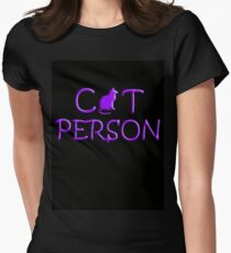 Cat Person Womens Fitted T-Shirt