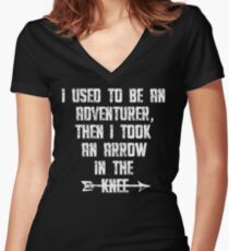 I Used To Be An Adventurer, Then I Took An Arrow In The Knee Women's Fitted V-Neck T-Shirt