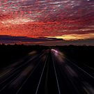Fire Sky Over The M3 by martin bullimore