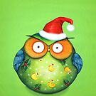Funny Santa Owl by Annya Kai