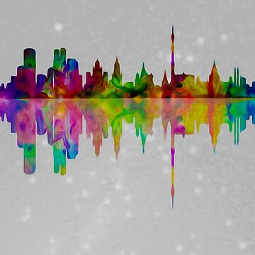 Starry Moscow skyline reflection  007 04 03 17 by algirdasdesign