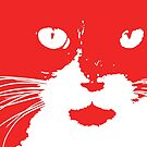 Cat Print/My Patch Abstract Graphic Cat Print Red and White – Jenny Meehan Design by Jenny Meehan