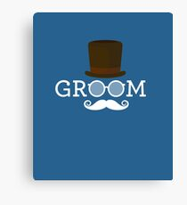 Funny Groom Mustache, Hat, & Sunglass for Bachelor's Party Canvas Print