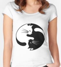 Ying yang cat Women's Fitted Scoop T-Shirt