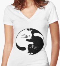 Ying yang cat Women's Fitted V-Neck T-Shirt