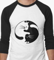 Ying yang cat Men's Baseball ¾ T-Shirt