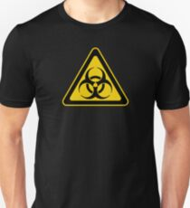 Biohazard Symbol Warning Sign - Yellow & Black - Triangular T-Shirt
